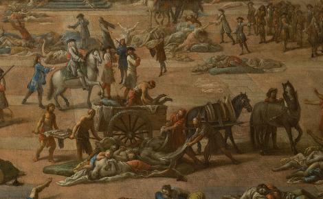 Détail de la toile de Michel Serre, représentant L' Hôtel-de-Ville pendant la peste de 1720, Musée des Beaux-Arts